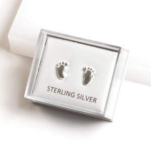 925 Sterling Silver Baby Feet Stud Earrings