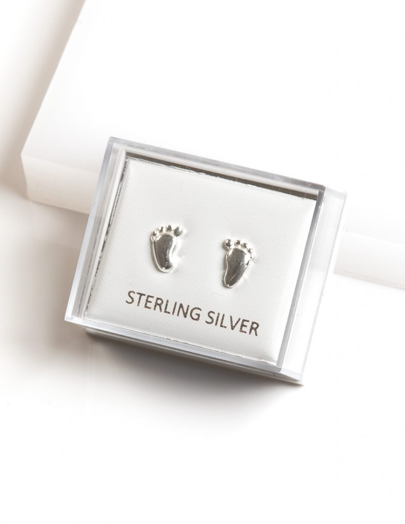 Callel 925 Sterling Silver Baby Foot Stud Earrings