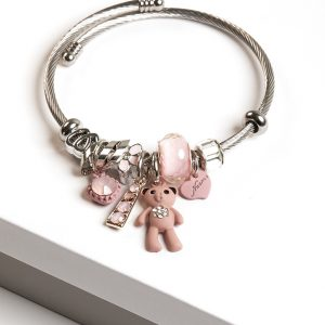 Stainless Steel Cute Teddy Bear Charm Bracelet