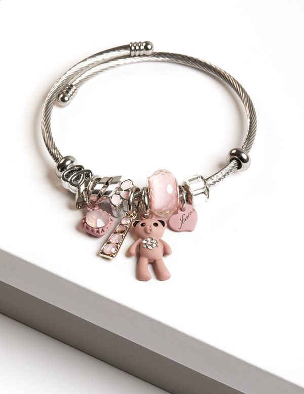 Callel Stainless Steel Cute Teddy Bear Charm Bracelet