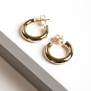 14K Gold Mini Half Hoop Earrings