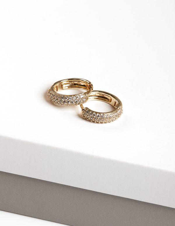 Callel 14K Gold Color Cubic Zirconia Hoop Huggie Earrings