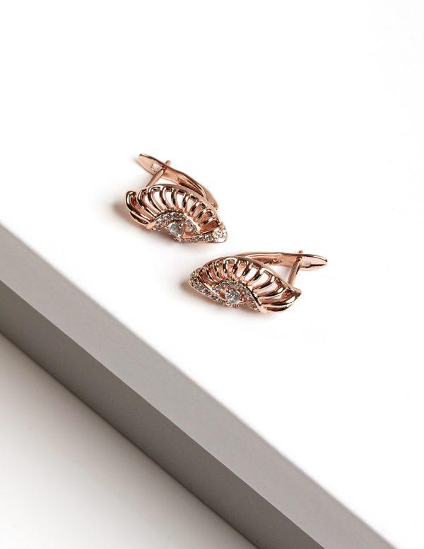 Callel Rose Gold CZ Latch Back Earrings