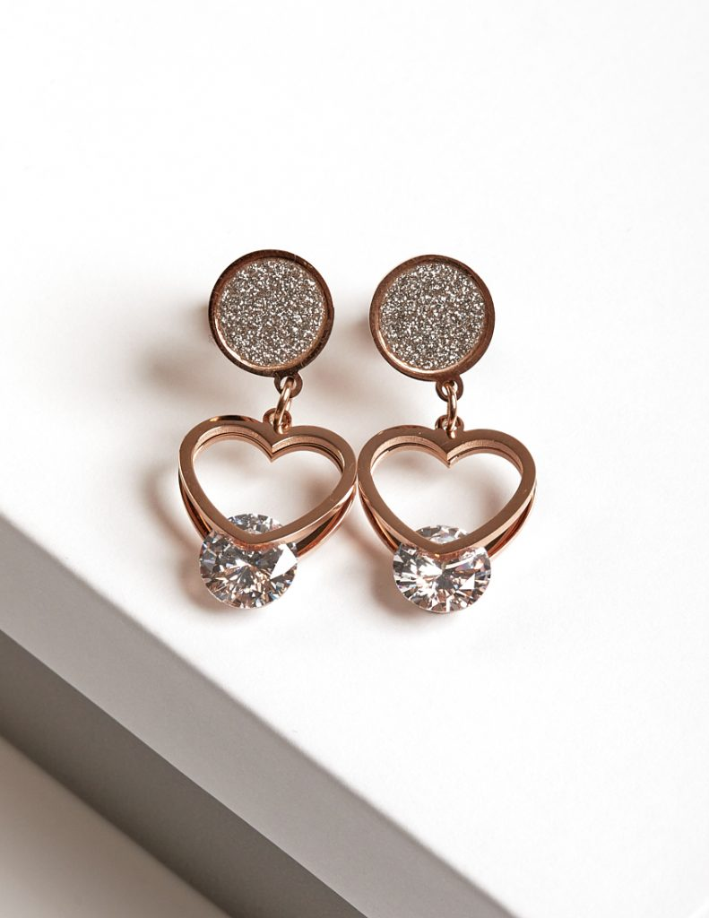 Callel Rose Gold Heart Drop Stud Earrings