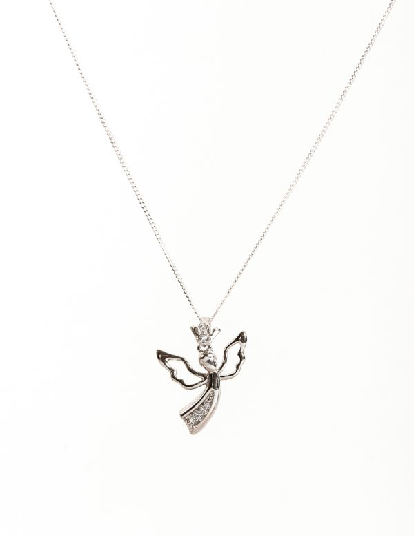 Callel Sterling Silver Angel Pendant Necklace
