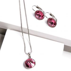 Necklace & Earrings Set Embellished With Rose Crystal From Swarovski
