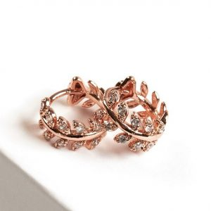 Rose Gold Cubic Zirconia Leaf Huggie Hoop Earrings