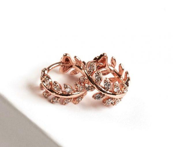 Callel Rose Gold Cz Huggie Earrings