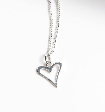 Callel 925 Sterling Silver Open Heart Pendant Necklace