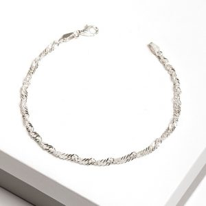 925 Sterling Silver Twisted Curb Chain Bracelet