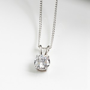 925 Sterling Silver Round Cubic Zirconia Pendant Necklace
