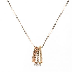 Rose Gold Multicolour Rings Pendant Necklace