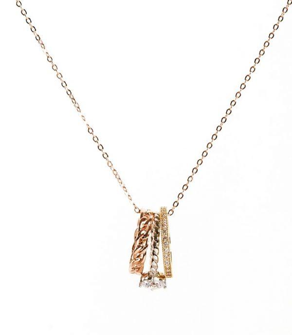 Callel Rose Gold Multicolur Rings Pendant Necklace