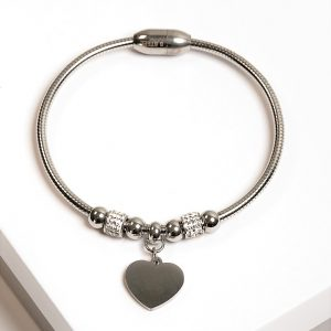 Silver Cubic Zirconia Heart Charm Bracelet