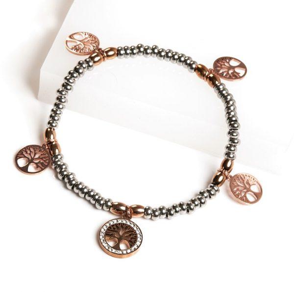 Callel Silver & Rose Gold Bead Tree Of Life Bracelet