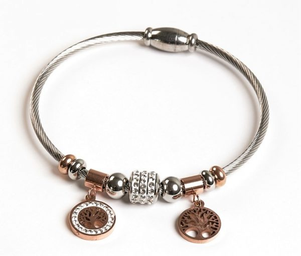 Callel Silver & Rose Gold Tree Of Life Charm Bracelet
