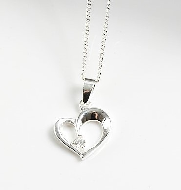 Callel 925 Sterling Silver CZ Heart Pendant Necklace