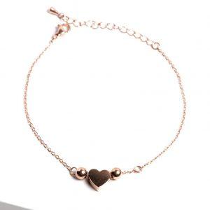 Rose Gold Heart Chain Bracelet