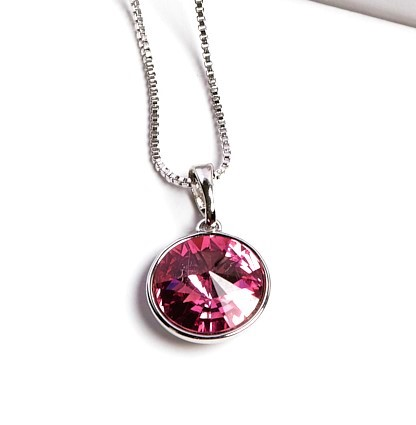 Callel Rose Colour Pendant Necklace Embellished With Crystal From Swarovski