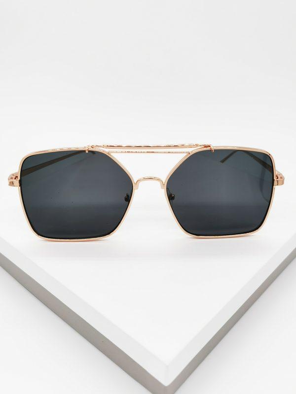 Callel Oversized Rose Gold Flat Top Frame Sunglasses