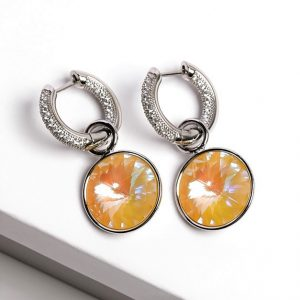 Huggie Drop Earrings Embellished With Yellow Glow Crystal From Swarovski