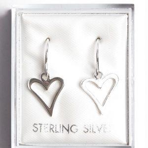 925 Sterling Silver Heart Hook Drop Earrings