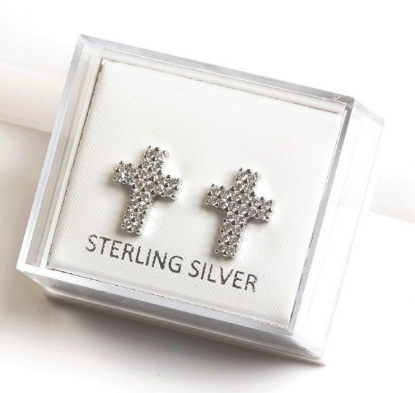 Callel 925 Sterling Silver Cz Cross Stud Earrings