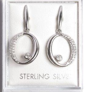 925 Sterling Silver Clear Cubic Zirconia Open Drop Earrings