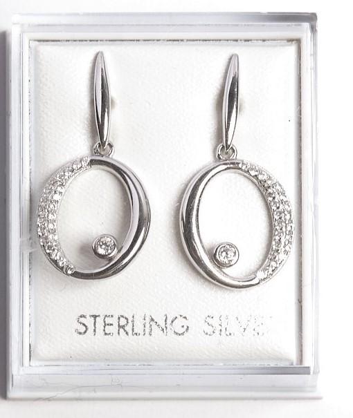 Callel 925 Sterling Silver Clear Cz Open Drop Earrings
