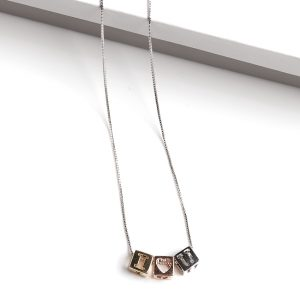 Silver I Love You Cube Necklace