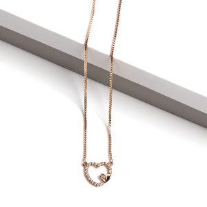 18K Gold Cubic Zirconia Heart Pendant Necklace