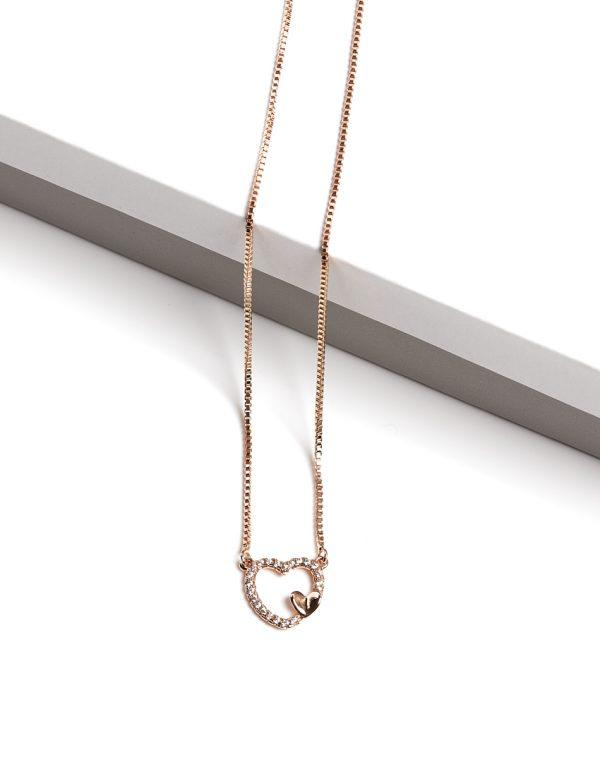 Callel 18K Gold Cubic Zirconia Heart Pendant Necklace