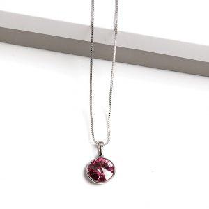 Pendant Necklace Embellished With Rose Crystal From Swarovski