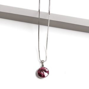 Pendant Necklace Embellished With Rose Crystal From Swarovski