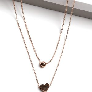 Rose Gold Heart Double Chain Necklace