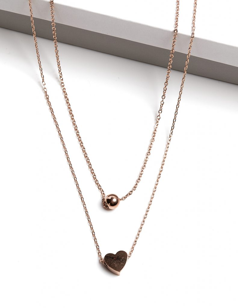 Callel Rose Gold Heart Double Chain Necklace
