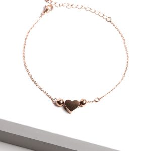 Rose Gold Heart Chain Bracelet