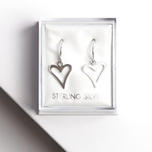 925 Sterling Silver Heart Hook Drop Earrings