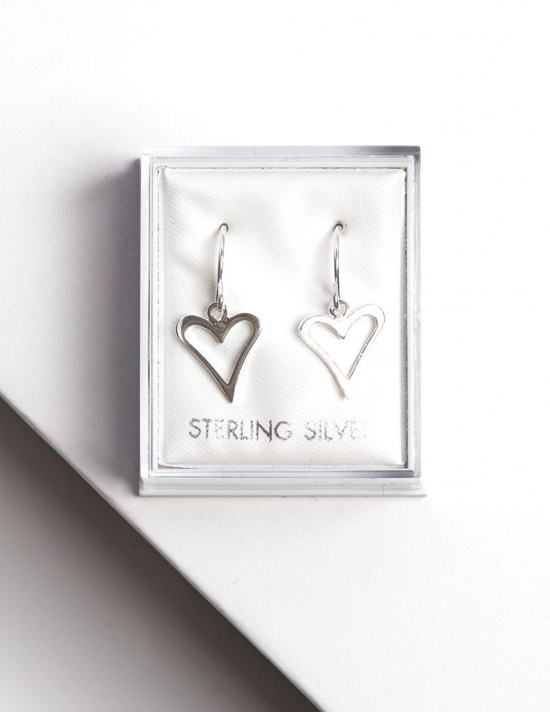 Callel Sterling Silver Heart Hook Drop Earrings