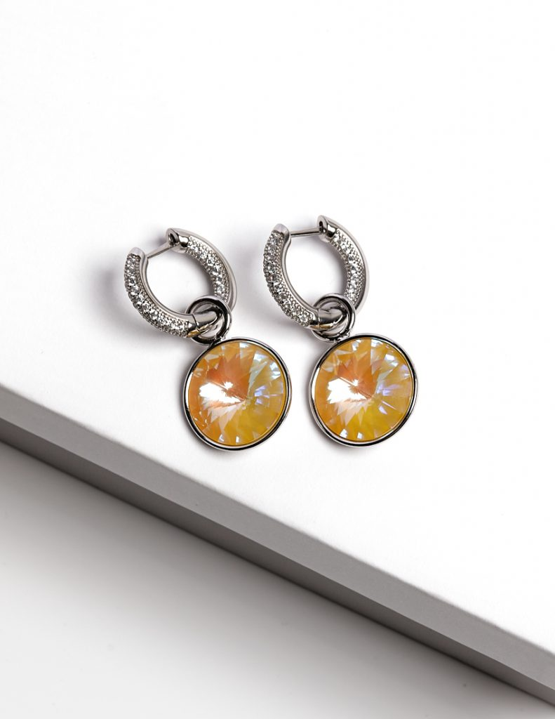 Callel Huggie Drop Earrings Embellished With Yellow Glow Crystal From Swarovski