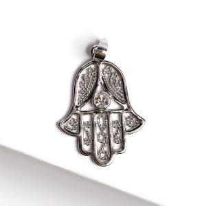 Silver Cubic Zirconia Hamsa Hand of Fatima Pendant