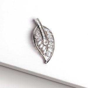 Silver Cubic Zirconia Leaf Pendant