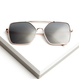Oversized Rose Gold Flat Top Frame Sunglasses