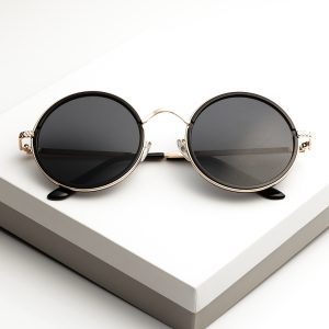 Black Round Metal Sunglasses