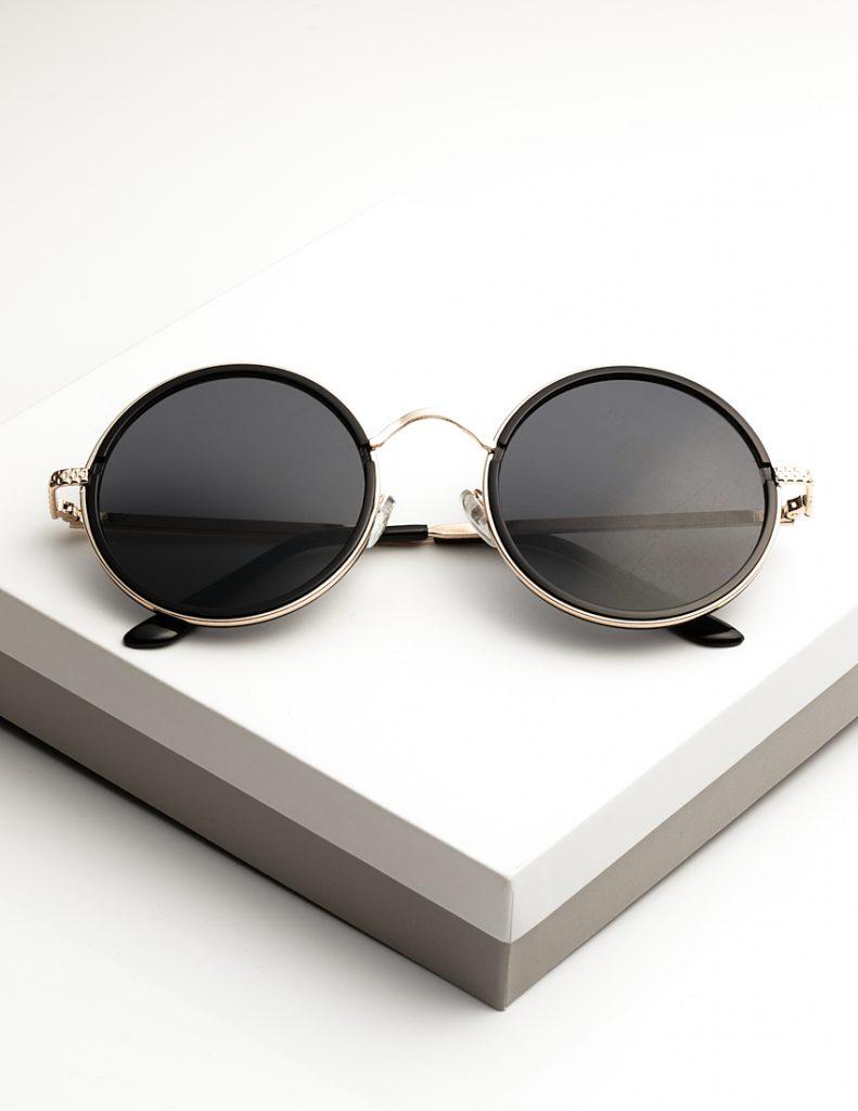Callel Black Round Metal Womens Sunglasses