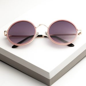 Pink Round Metal Sunglasses