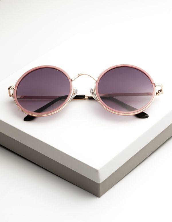 Callel Pink Round Metal Sunglasses