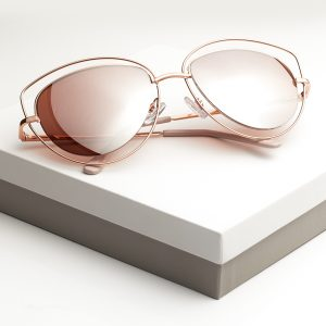 Rose Gold Mirrored Cat Eye Sunglasses