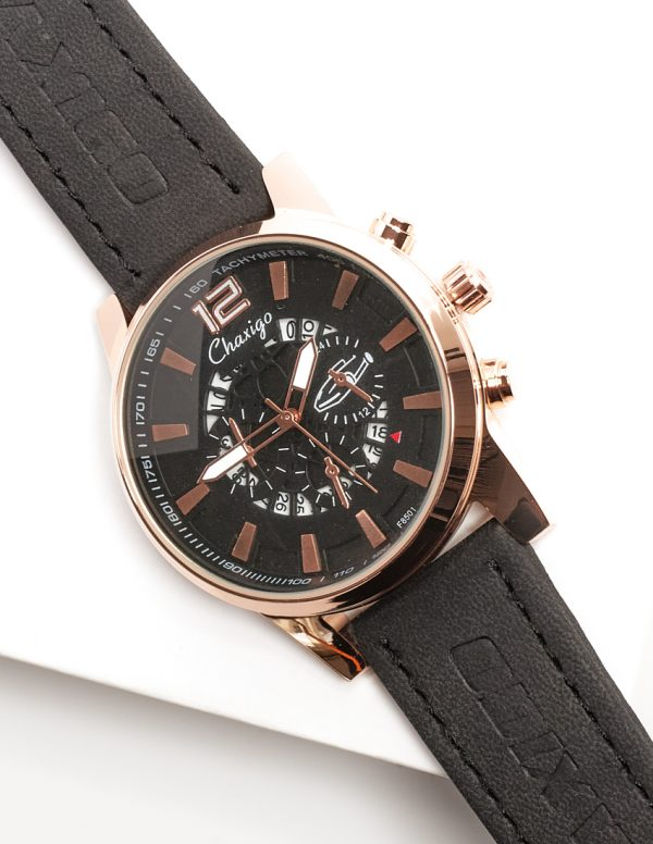 Callel Chaxigo Black & Rose Gold Mens Watch
