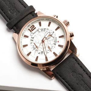Chaxigo Rose Gold & White Face Mens Watch